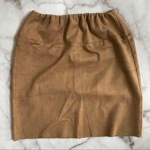 Aritzia Wilfred Bidot faux suede mini skirt camel
